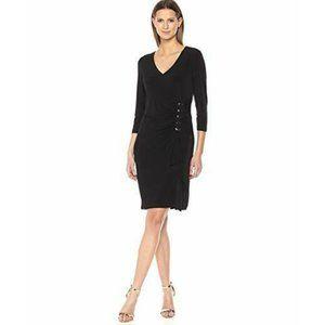 Calvin Klein Black Lace Up Ruched Dress Formal LBD